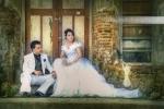 prewedding dengan gaun putih di kota lama